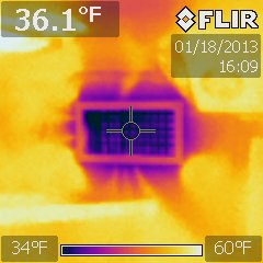 Thermal image of air conditioning vent - MarineSurveyorFlorida.com